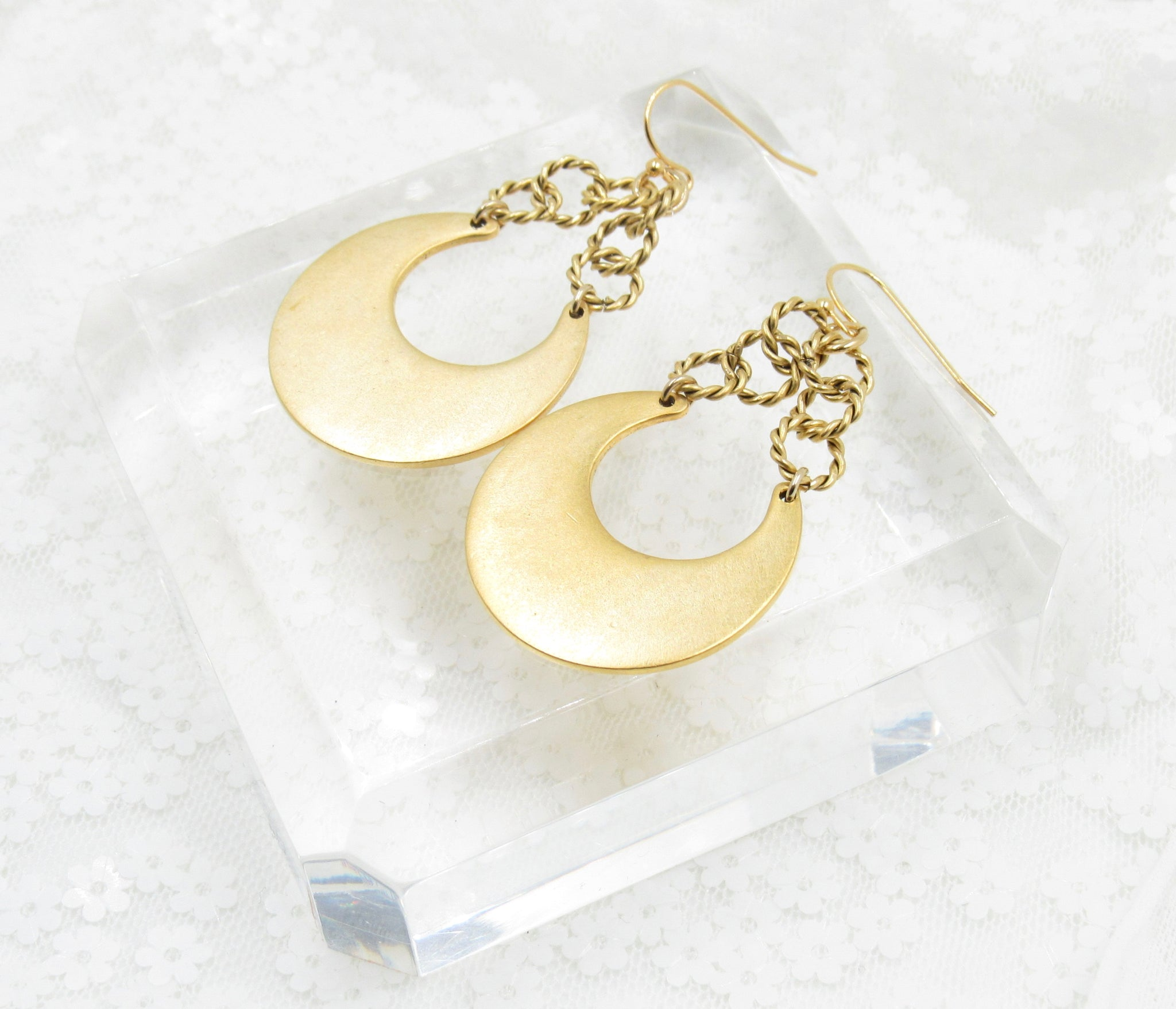 Gold Eclipse Chain Earrings