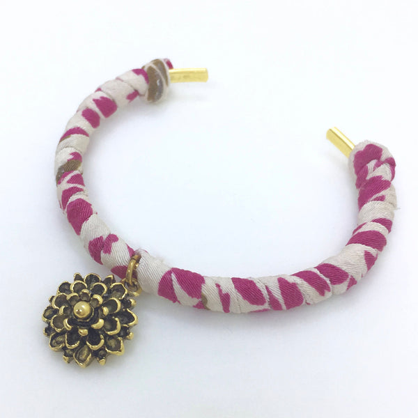 Japanese Kimono Cord Cuff Bracelet with Gold Flower Charm (Adjustable)