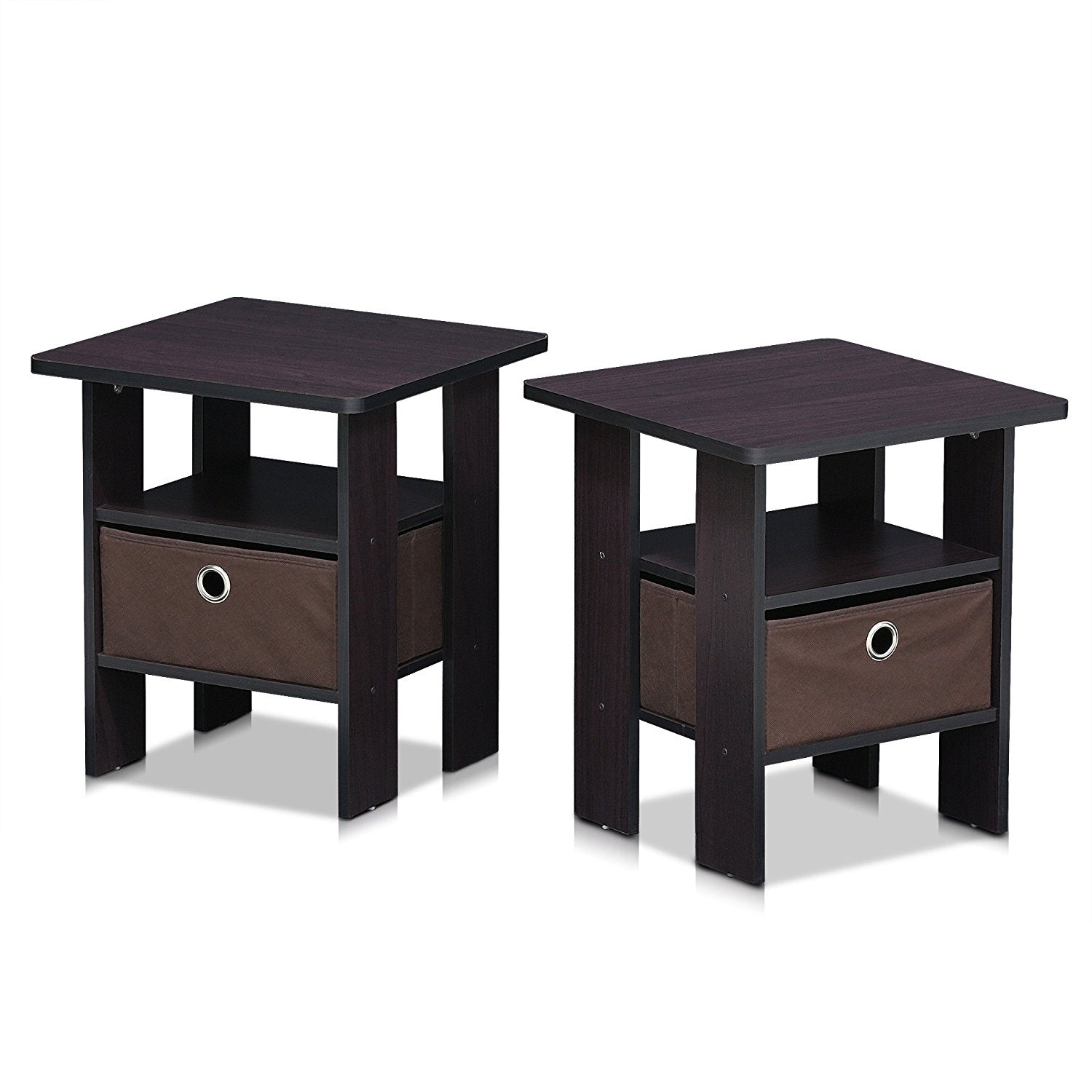 Furinno 2 DWN Dark Walnut Petite End Table Bedroom Night