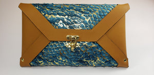 Erika Lynn Fish Leather Brown Turquoise Clutch
