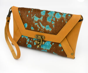 Erika Lynn Brown Acid Wash Cow Hair on Hide Clutch