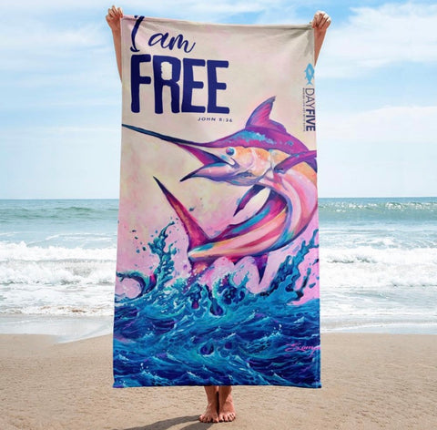 """I Am Free"" Marlin Beach Towel"