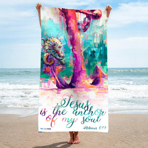 """Warhorse"" Seahorse and Anchor Beach Towel"