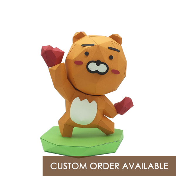 Ryan From Kakao Friends Low Polygon Paper Craft Statue