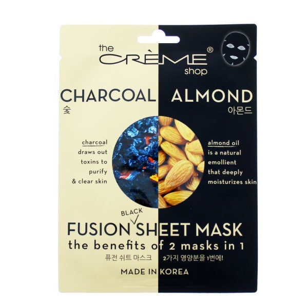 The Creme Shop Charcoal Almond Black Sheet Mask Mask Sheet