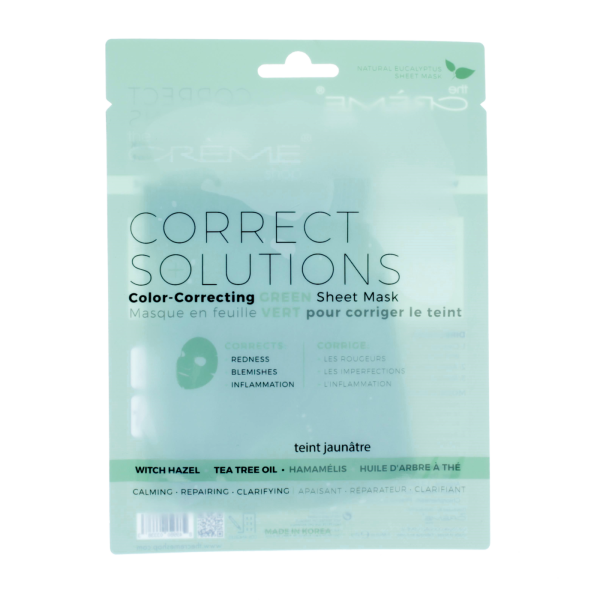 The Creme Shop Correct Solutions Sheet Masks Green Mask Mask Sheet