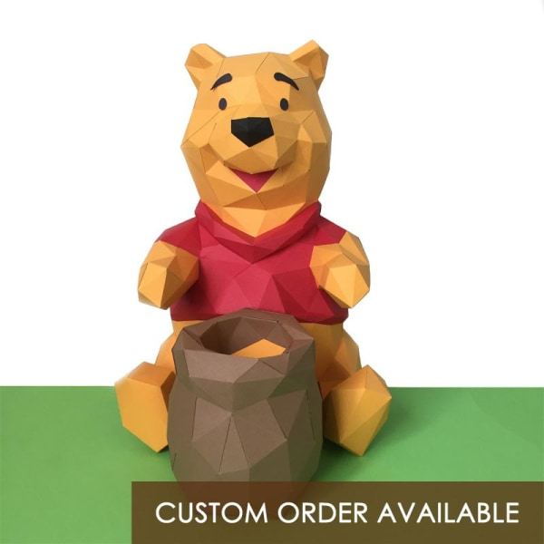 Winnie-The-Pooh Low Polygon Paper Craft Statue
