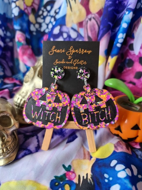 Happy Jack Witch Bitch Dangle - Pink and Orange  - Smoke and Glitter Design Collaboration