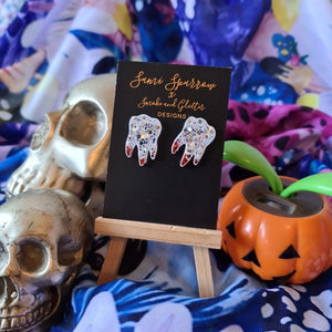 Teeth studs - Silver and Red - Smoke and Glitter Design Collaboration