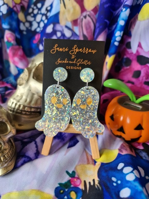Ghost Dangles - Glow in the Dark Pearl  - Smoke and Glitter Design Collaboration