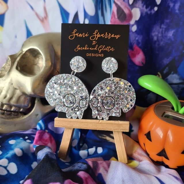 Skull Dangles -Silver  - Smoke and Glitter Design Collaboration