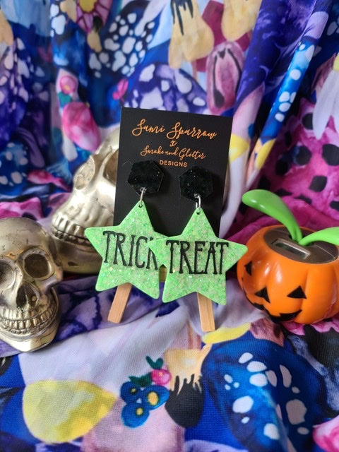 Trick or Treat Dangles - Green and Black  - Smoke and Glitter Design Collaboration