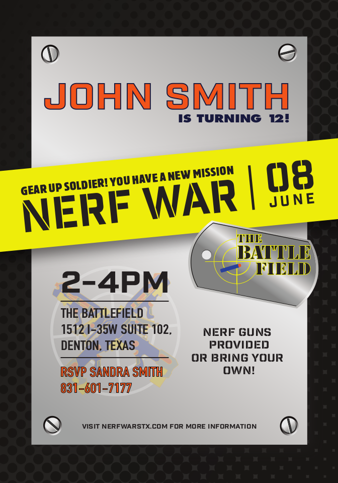 Nerf Invitations For Parties The Battlefield