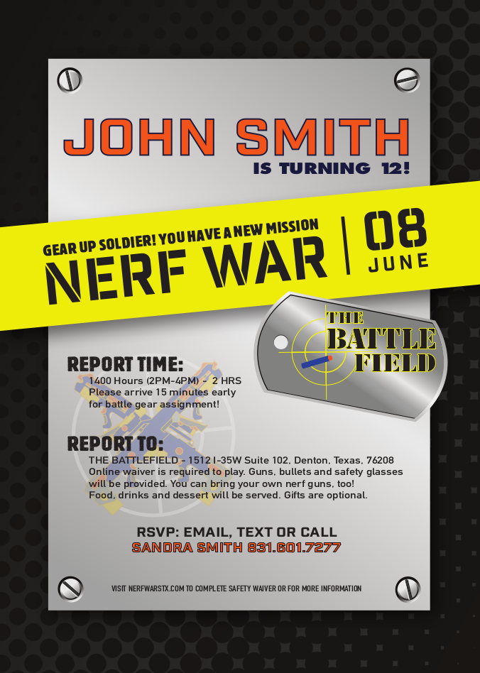 Nerf Invitations for Parties – The Battlefield