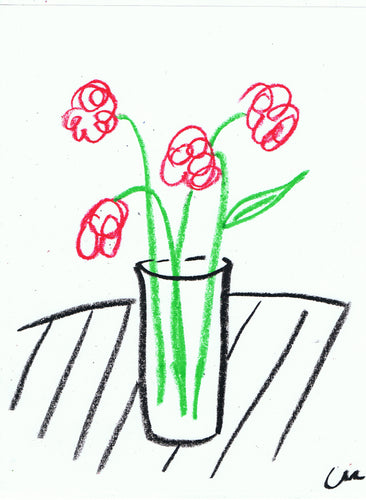 Charity Auction Original Flowers Drawing