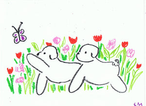 Charity Auction Original Bichons Drawing