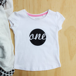 "Girl's ""ONE"" Tee Black Glitter - Size 1"