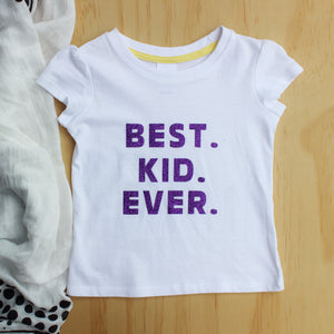 "Purple Glitter ""Best Kid Ever"" Tee - Size 1"