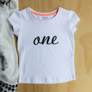 "Girl's ""one"" Birthday Tee -Size 1"