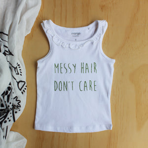 "Green Glitter ""Messy Hair Don't Care"" Singlet - Size 0"