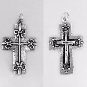 Fleur de Lis Cross reversable Bead Cross