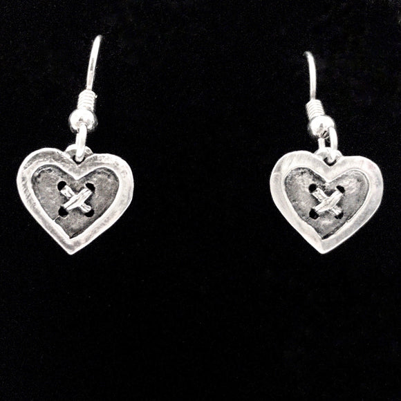 Button Heart Earrings