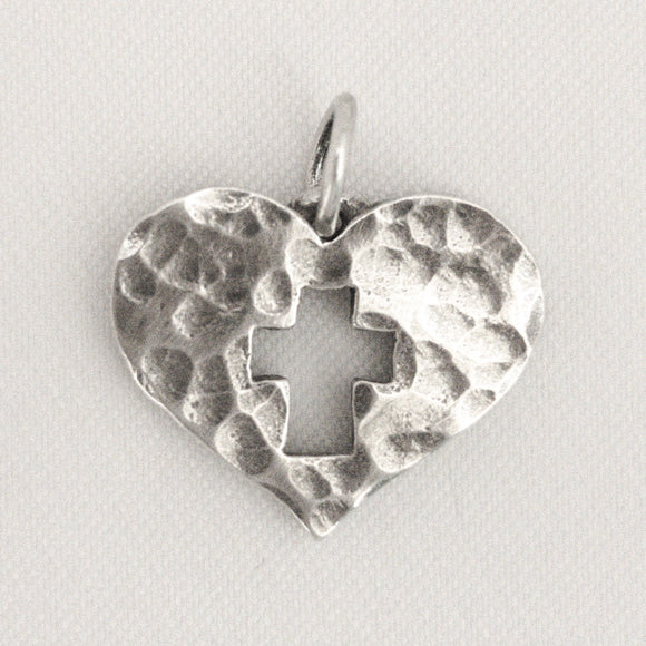 Hammered Heart with Cross