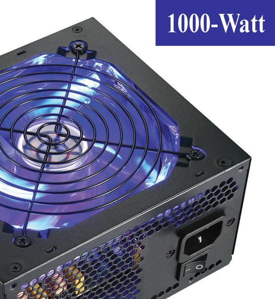 SHARK 1000W 80+ LED Fan Quad PCIe Gaming PC ATX 12V 8-SATA Power Supply, UL CORD