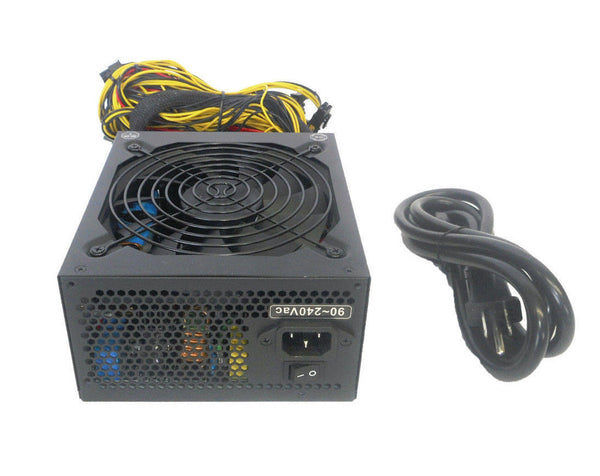 NEW 1600W 12X PCIe GPU Ethereum Coin Mining Rig Power Supply w/ Power Cord