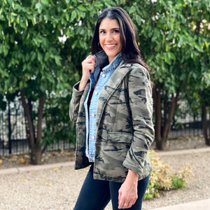 HELEN CAMO COTTON BLAZER WITH REMOVABLE DENIM INSERT