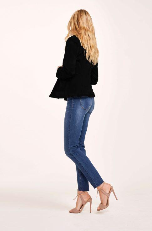 HELEN BLACK COTTON BLAZER WITH REMOVABLE DENIM INSERT