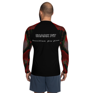 Men's Ranked Shark Pit Logo Rash Guard - Black Belt