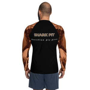 Men's Ranked Shark Pit Logo Rash Guard - Brown Belt