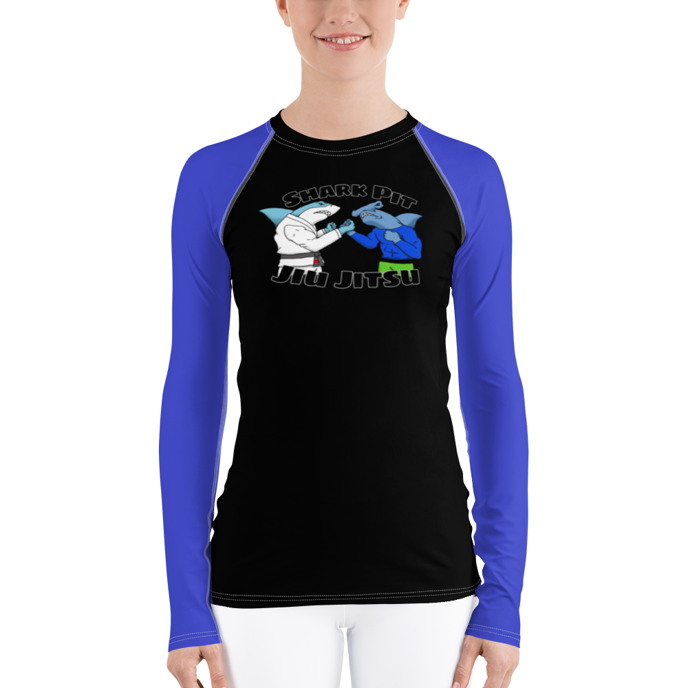 Shark Pit Jiu Jitsu Ranked Women's Rash Guard - Blue Belt