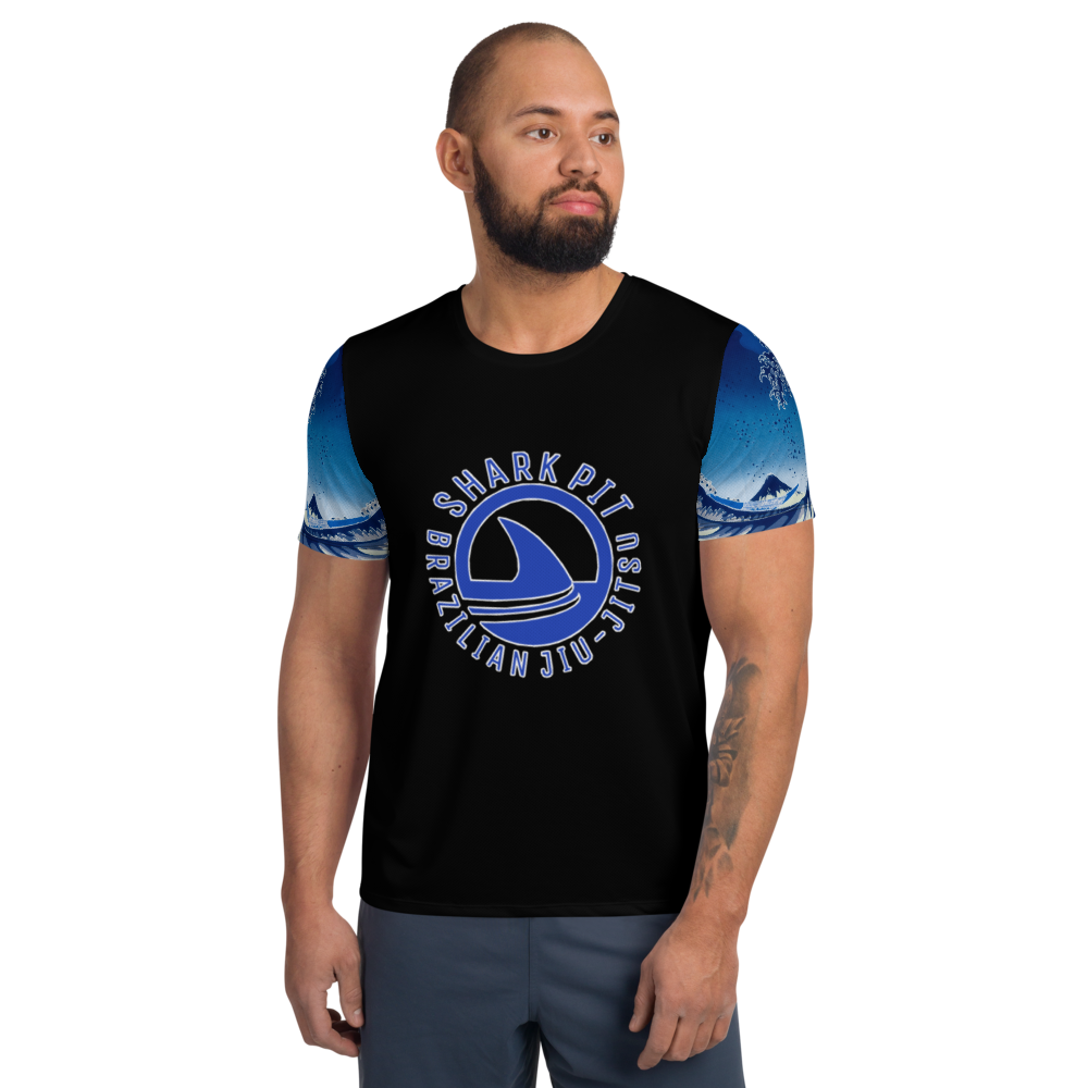 Shark Pit Logo Men's Athletic Shirt - Blue Waves