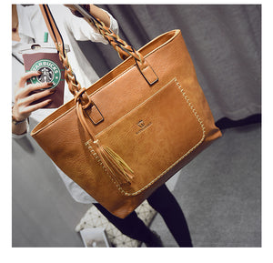 2018 New Women PU Leather Messenger Bags With Tassel  Designers Handbags