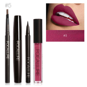 4pc Makeup Set Including Sexy Tint Lip Gloss Paint Black Mascara Waterproof Eyeliner Auto Brows Pen Beautry Makeup