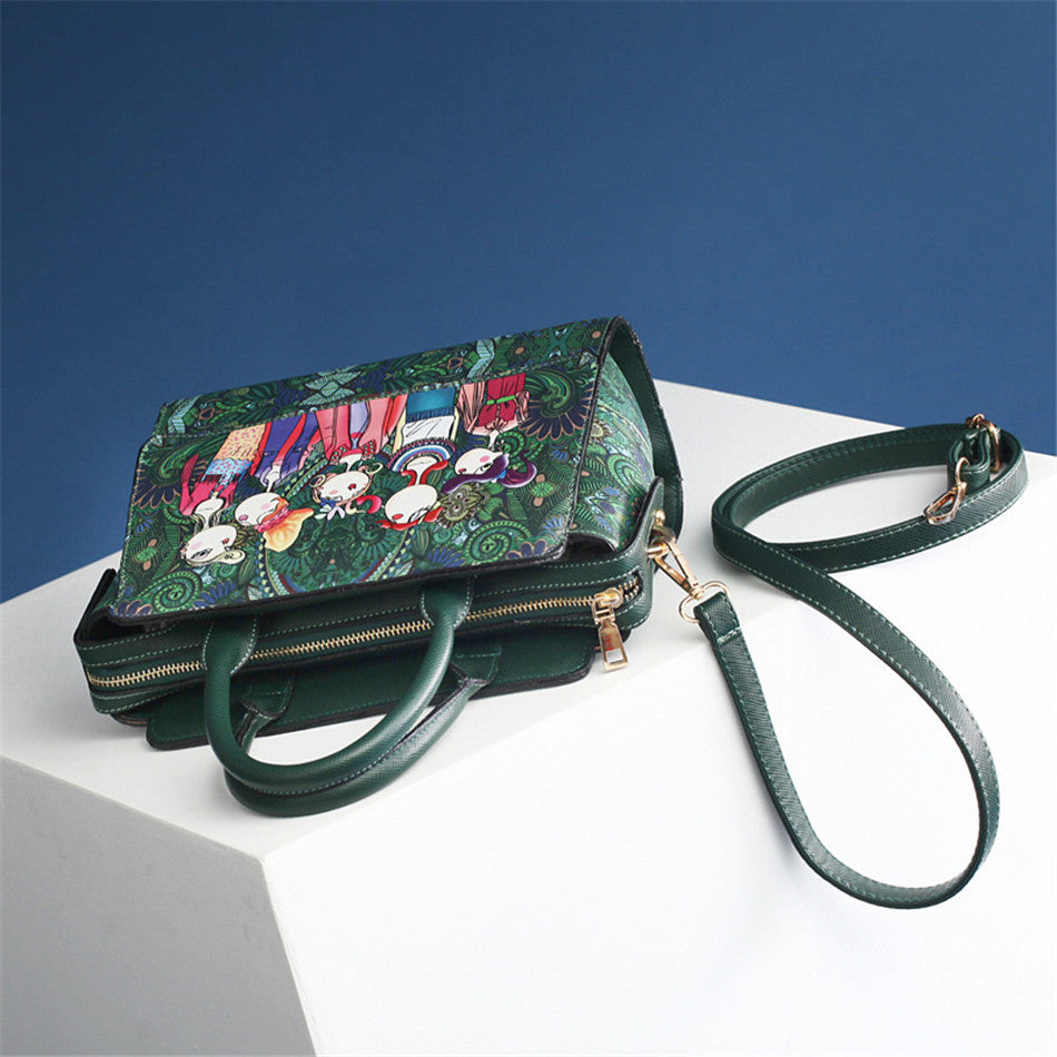 2018 Women Bag Patchwork Forest Girl Green Flap Bag Designer Leather Fashion Messenger Bags Ladies Single Shoulder Bag