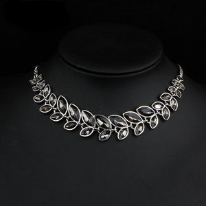 3 Color Leaves Crystal Choker Statement Necklace for Women Bohemian Rhinestone Collar Bijoux Maxi Necklaces Wedding Jewelry