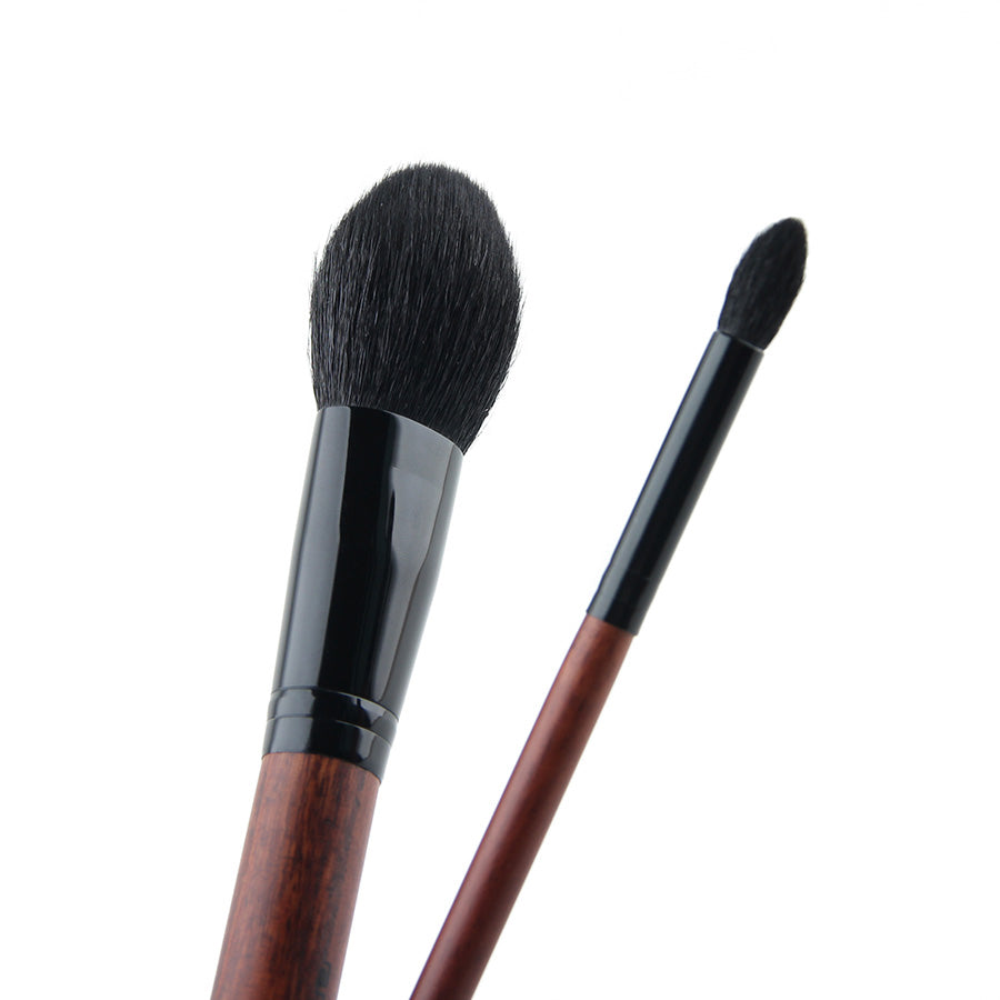 Experience Your Daily Makeup Experience with Wood Handle Premium Professional Makeup Brushes Set 2 Piece Natural Soft Goat & Pony Hair Powder Eyeshadow Brush Kit H20