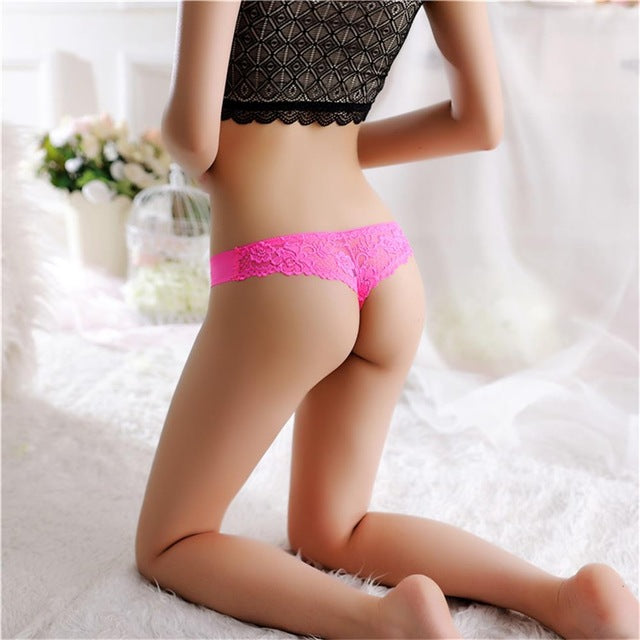 be6166fff8 Expose with 1PC Sexy Women G-string Thongs Lace Floral Sheer Low Waist  Underwear Soft