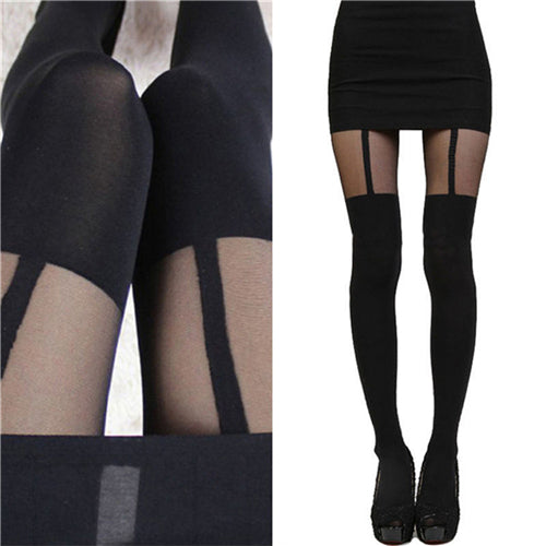 Expose with New Sexy Women Black Fake Garter Belt Suspender Tights Over The Knee Hosiery Stockings