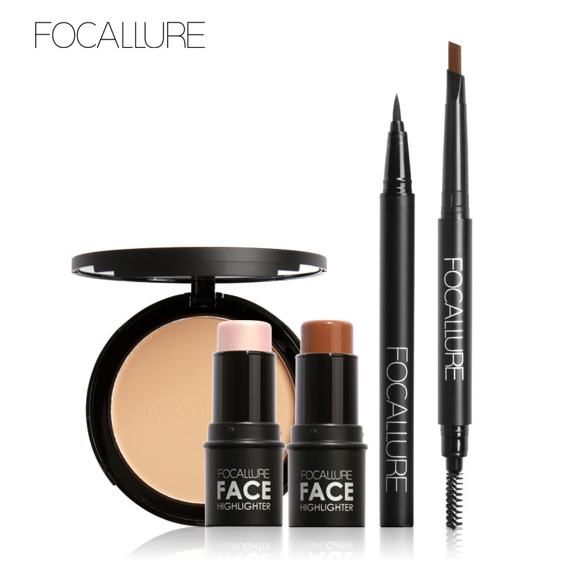 5Pcs Pro Eye Makeup Set Cosmetics  Black Mascara Eyeliner with Pressed Powder Highlighter Kit