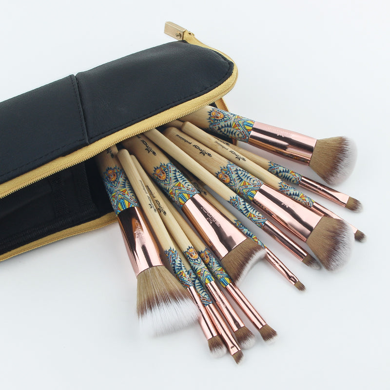 Experience with 12 PCs Professional High Quality MAKEUP BRUSHES SET for your Confidence! Everything you need for  your Gorgeous Face and Eyes Makeup application!