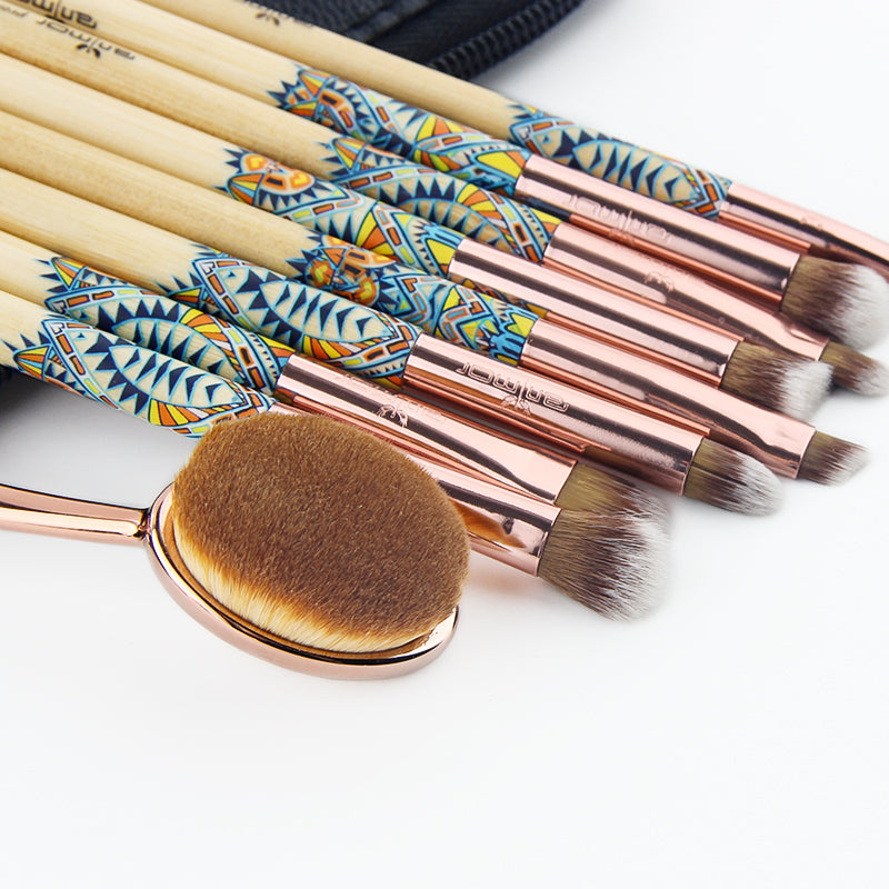 9 PCS Rose Gold Professional Make Up Brushes with Black Bag