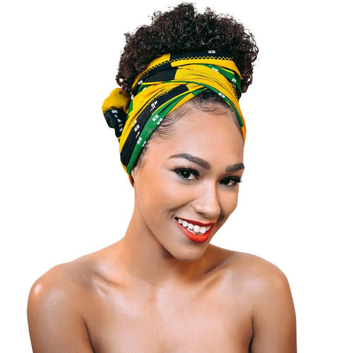 Handcrafted Headwrap & Pocket Square - Jah Love