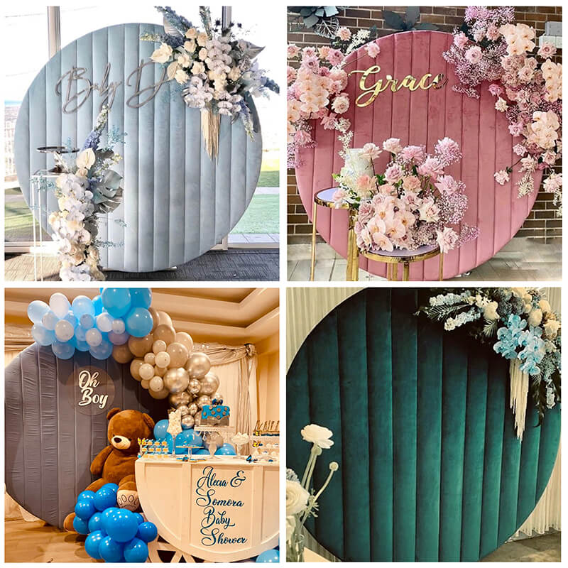 Velvet Round Backdrop Cover with Stand Birthday&Baby Shower&Wedding Decorations