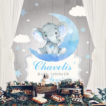 Load image into Gallery viewer, Elephant Boy Table Backdrop Moon& Clouds&Stars Kids Birthday-ubackdrop