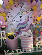 Load image into Gallery viewer, Unicorn Backdrop Pink Purple Floral Unicorn Circle Backdrop Birthday Party Backdrop Ideas