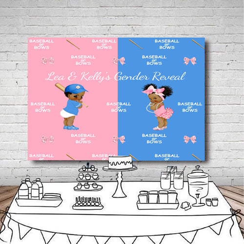 Baseball or Bows Gender Reveal Backdrop | Gender Reveal Backdrop | Sports Theme Backdrop-ubackdrop
